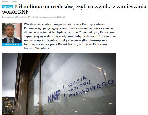 Pół miliona mercedesów, czyli co wynika zzamieszania wokół KNF