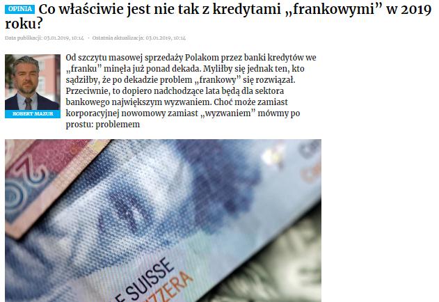"""Co właściwie jest nietak zkredytami """"frankowymi"""" w2019 roku?"""""""