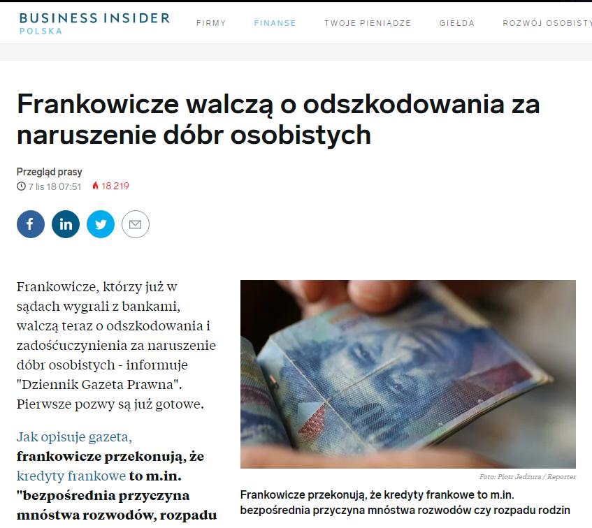 Frankowicze walczą oodszkodowania zanaruszenie dóbr osobistych