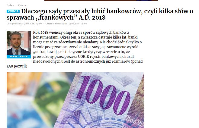 """Dlaczego sądy przestały lubić bankowców, czyli kilka słów osprawach """"frankowych"""" A.D. 2018"""