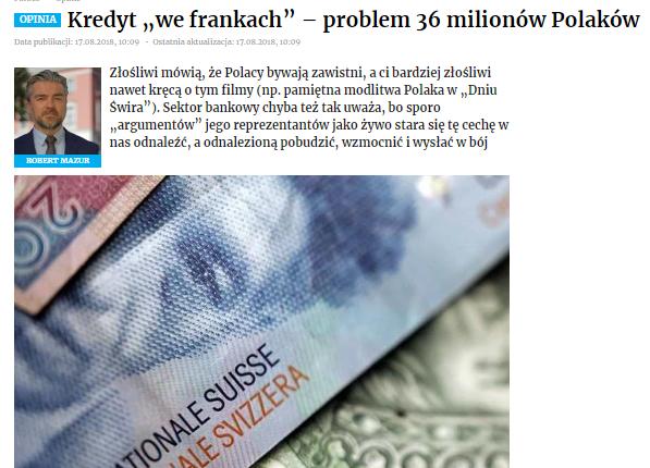 """Kredyt """"we frankach"""" – problem 36 milionów Polaków"""