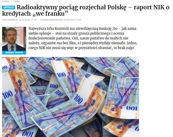 """Radioaktywny pociąg rozjechał Polskę – raport NIK okredytach """"we franku"""""""